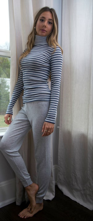 Image of TURTLENECK Breton Stripe~ Grey/Navy, ecry/Red