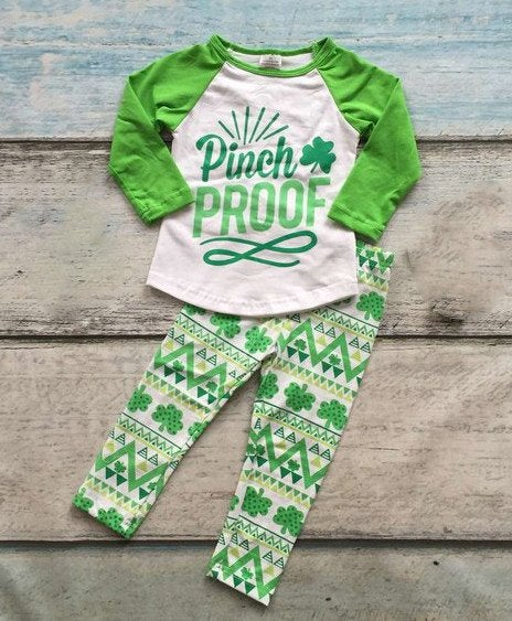 Image of St. Patrick's Day PINCH PROOF Shamrock legging set, baby, toddler, girl