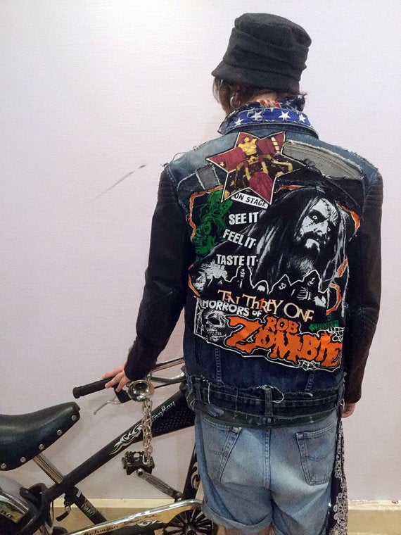 Image of Zombie Americana Denim/ Leather Jacket