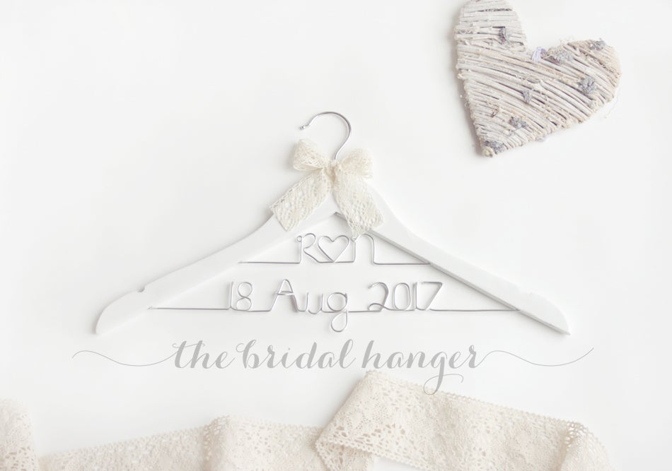 Image of Double Lines Wedding Hanger - WHITE