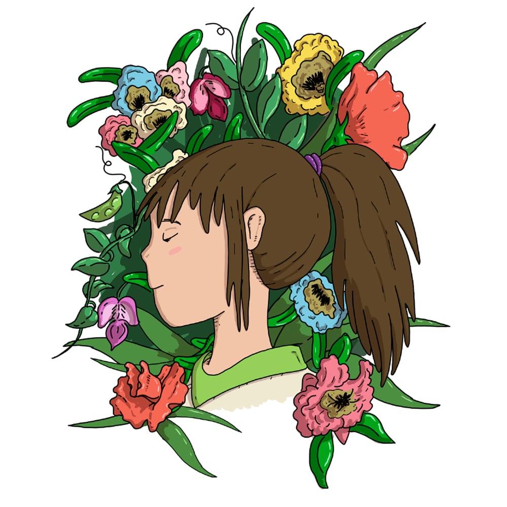Image of Chihiro Among Flowers print