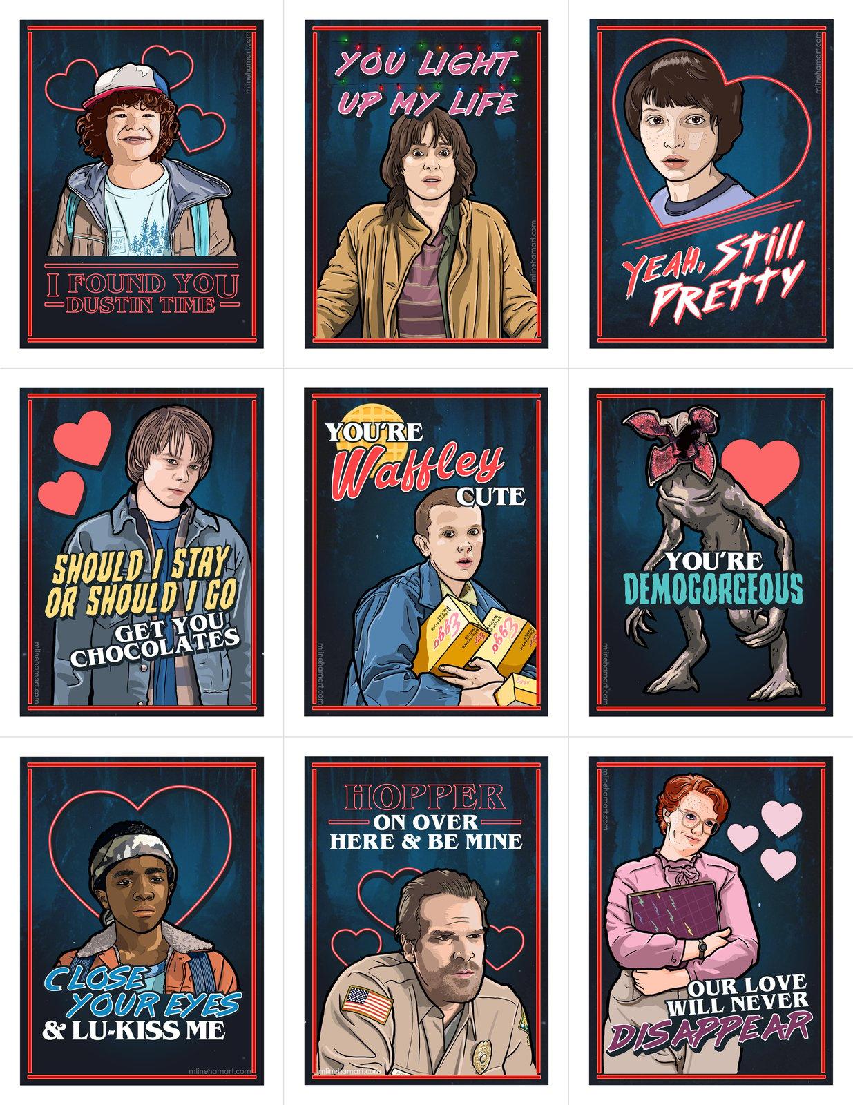 M Lineham Art Stranger Things Valentine S Day Card Pack