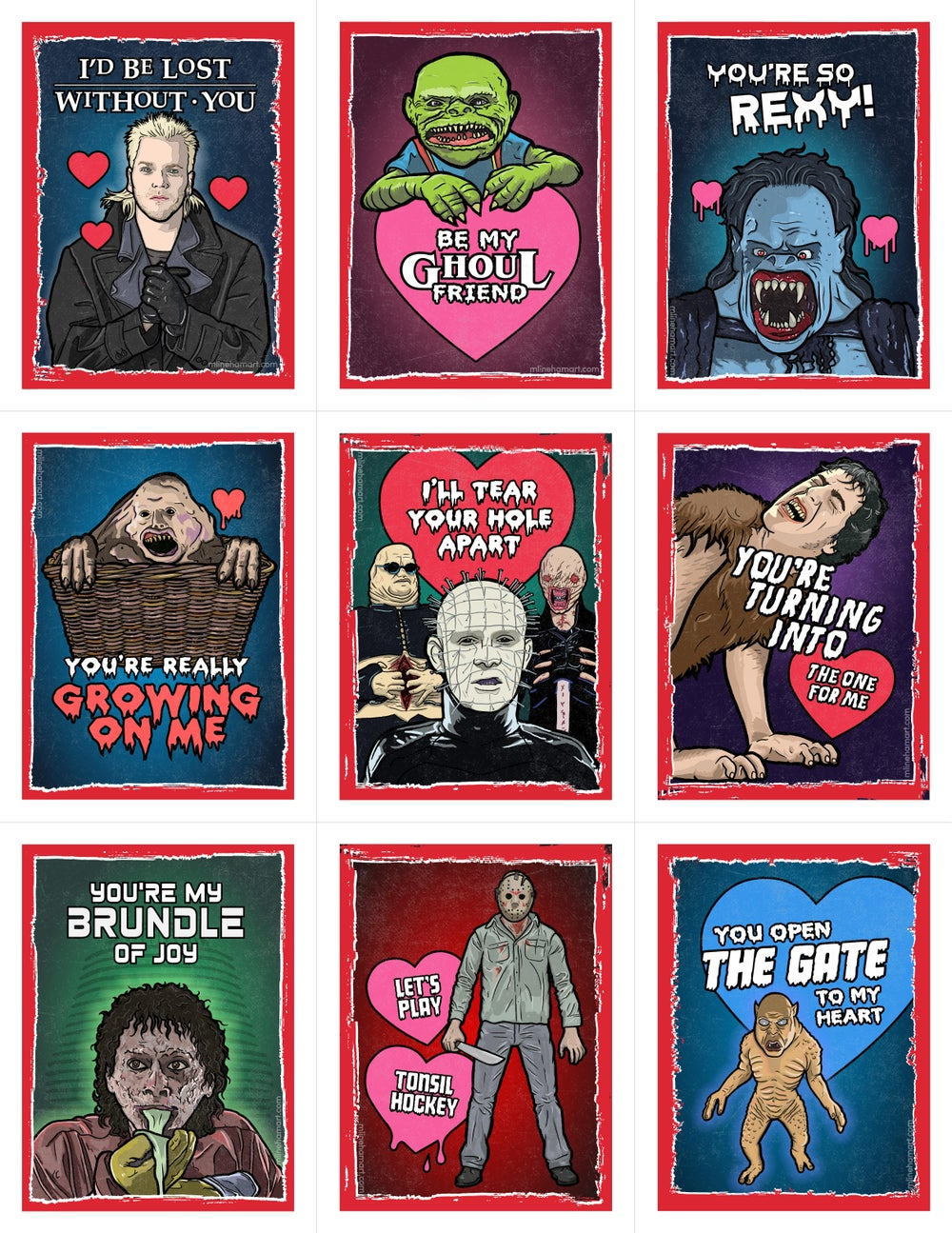 80's Horror Valentine's Day Card Pack (2017)