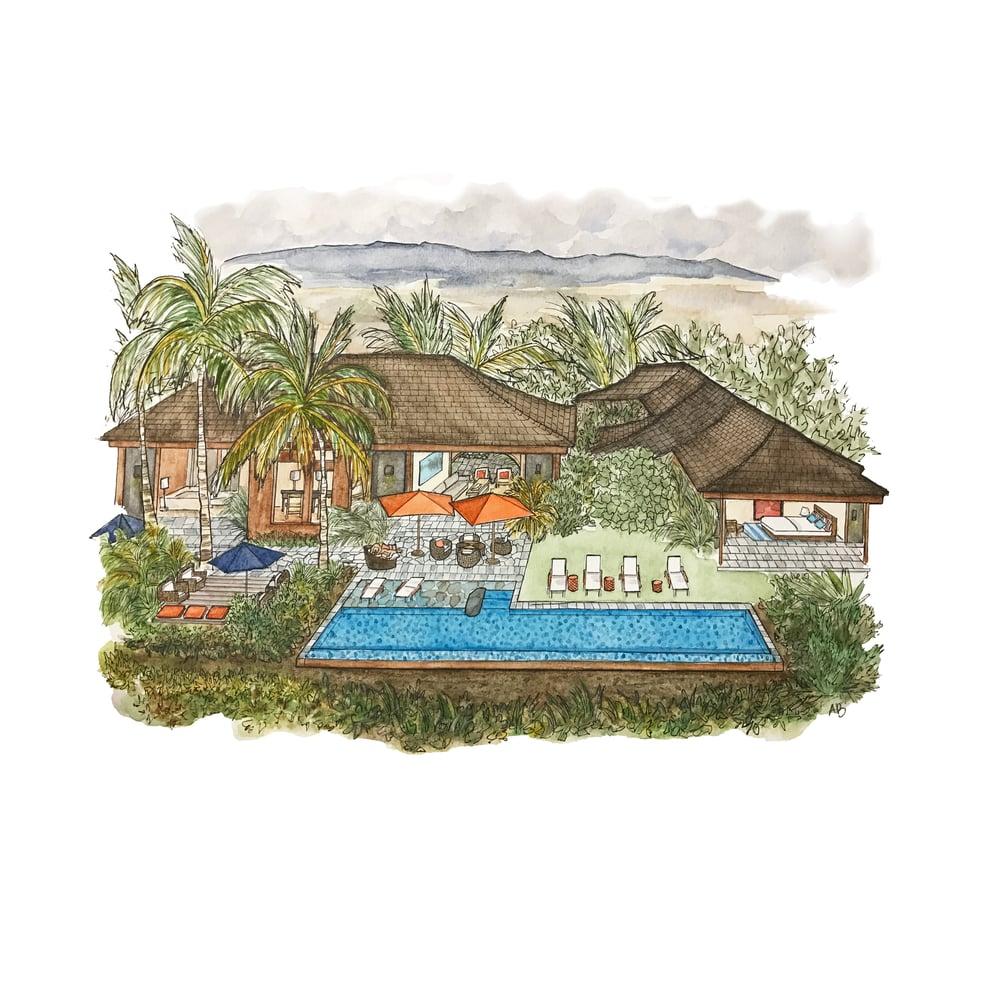 Image of Original Custom Watercolor Painting : Home