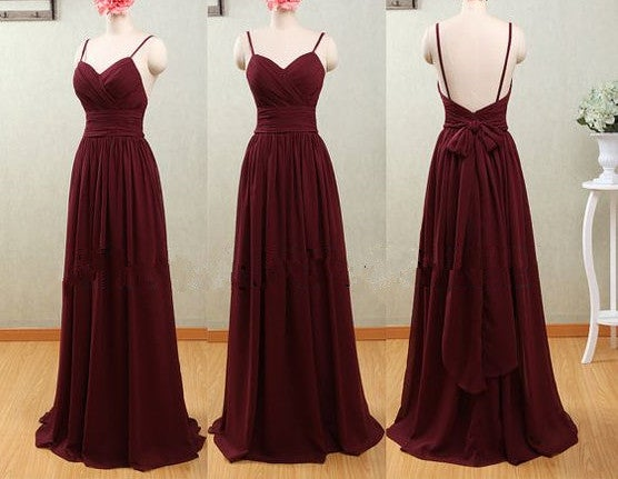 Pretty Simple Straps Backless Maroon Long Prom Dress with Bow, Maroon Prom Dress 2017