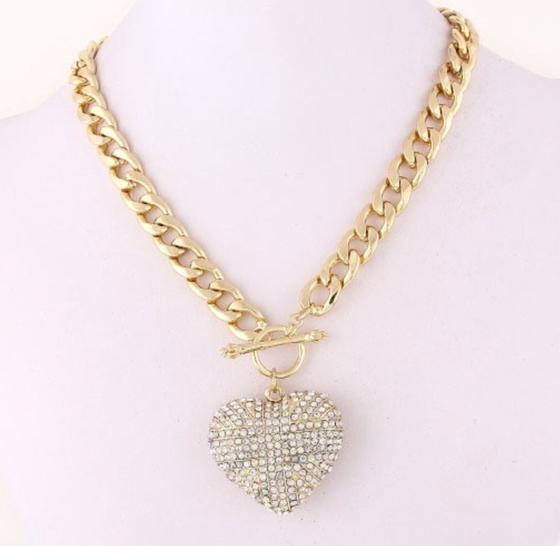 Image of RHINESTONE HEART CHARM NECKLACE