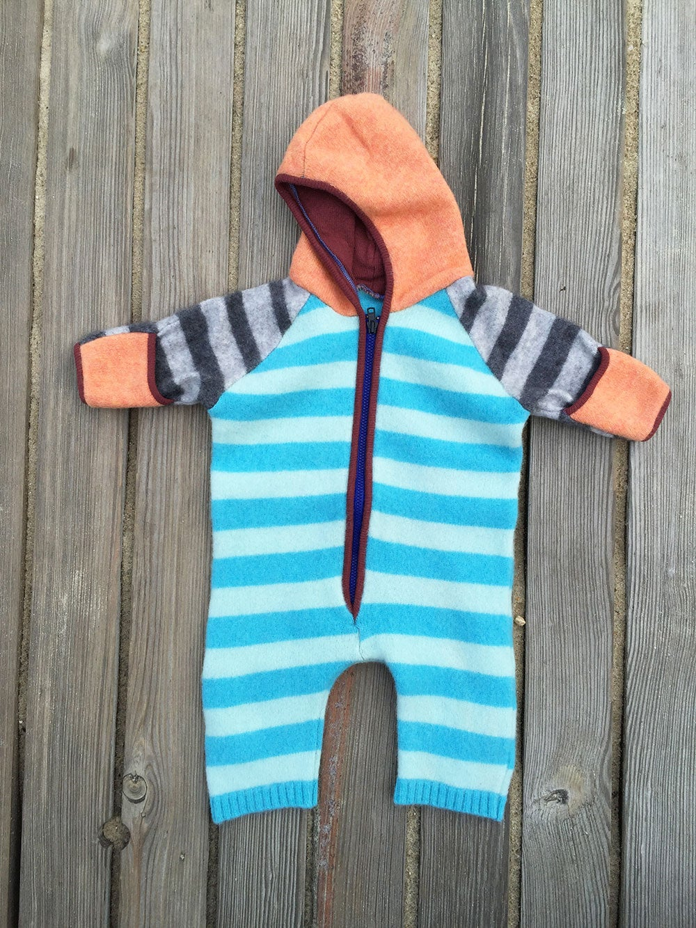 Image of Onesie in subtle stripes of Sky Blue, Mint Green, Peach, Rust and Grey, Size 0-6 mth