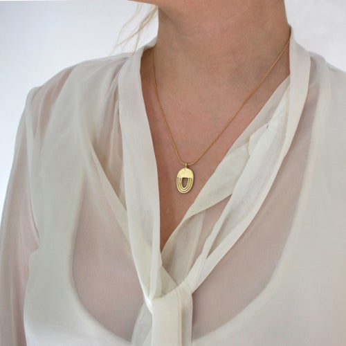 Image of Brass Archway Pendant Necklace