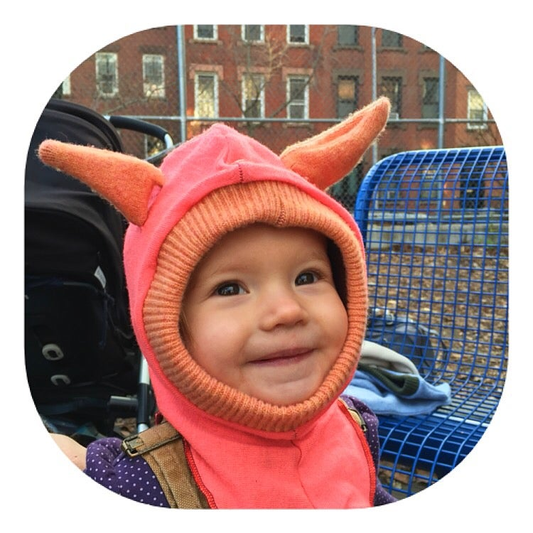Image of Wild Thing, Neon Pink and Peach Balaclava with Ears, Size 6-12 mth