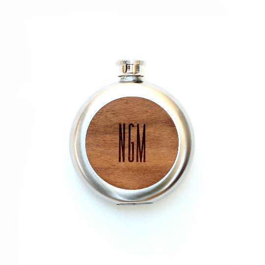 Image of TIMBER Wood Skin 5oz. Round Flask: Free US Shipping