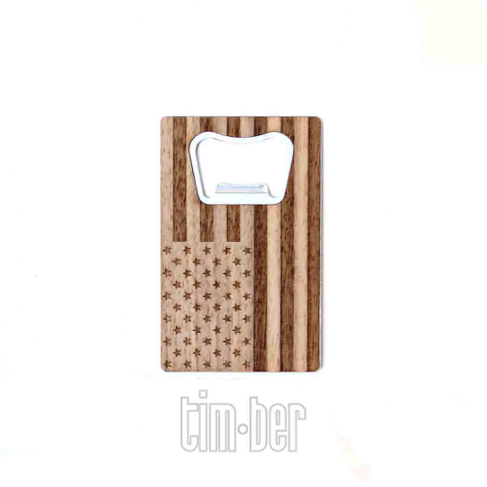 Image of TIMBER Wood Skin Wallet Bottle Opener: Patriot Edition Free US Shipping