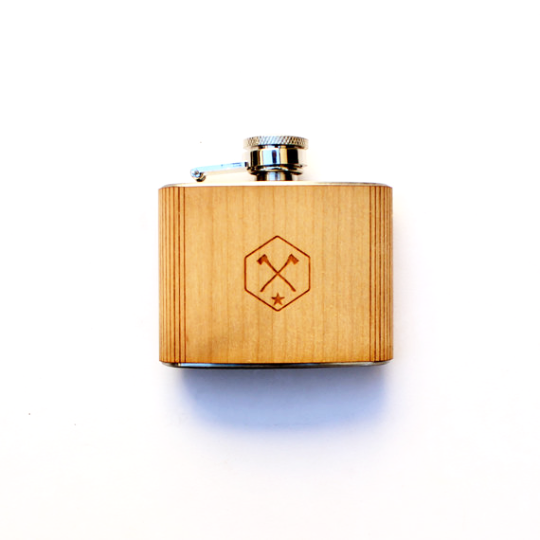 Image of TIMBER Wood Skin 3oz. Mini Flask : Free US Shipping