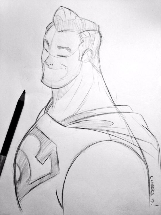 Image of Superman bust sketch.