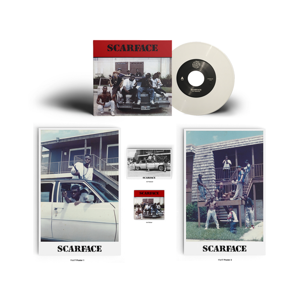 "Image of Scarface (Dj Akshen) - SCARFACE 7"" OG 1989 Version (White Vinyl) w/ 2 Posters, Sticker & Postcard"