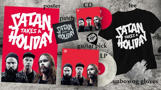 Image of Satan Takes A Holiday - The Super Awesome Satan Fun Pack(CD/LP/Shirt/Signed Poster/Patch/Pick/Gloves