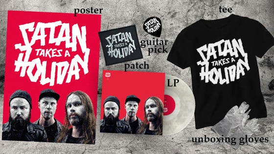 Image of Satan Takes A Holiday - The Super Awesome Satan Pack (LP/Shirt/Signed Poster/Patch/Pick/Gloves)