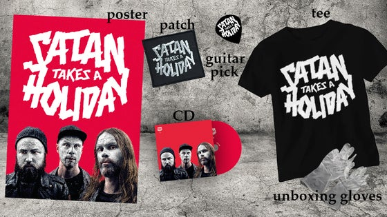 Image of Satan Takes A Holiday - The Super Great Satan Pack (CD/Shirt/Signed Poster/Patch/Guitar Pick/Gloves)