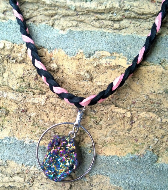 Image of Braided Suede Druzy Choker