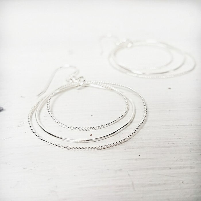 Image of Illusion hiking hoops in sterling silver