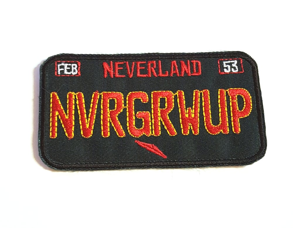 Image of Never Grow up Car Plate Patch