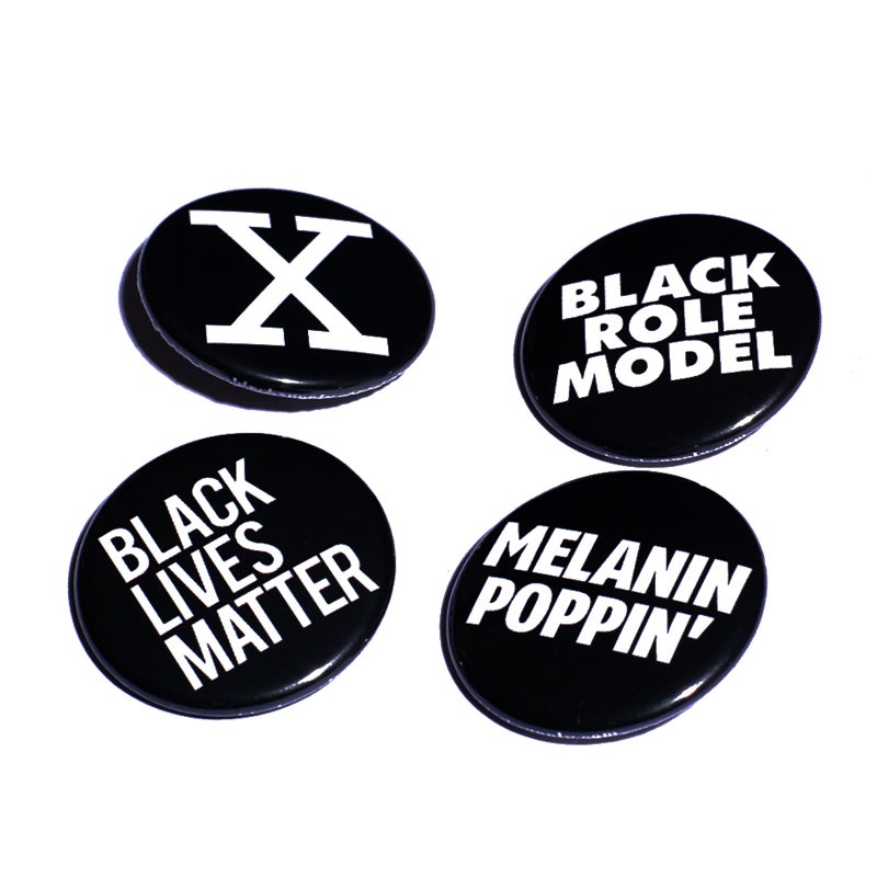 Image of All Black Everything Kit 4 Pin Back Button Pack