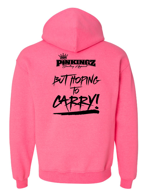 Image of Pinkingz Bowling Hoodie | Motivated to Strike but Hoping to carry! || Cyber Pink Hoodie