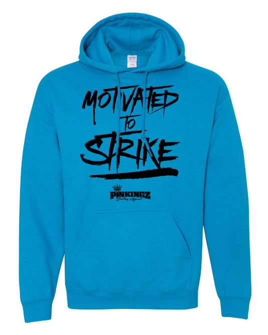 Image of Pinkingz Bowling Hoodie | Motivated to Strike but Hoping to Carry! || Sapphire Blue Hoodie