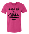 Pinkingz Bowling T-Shirt | Motivated to Strike but Hoping to Carry! || Cyber Pink V Neck
