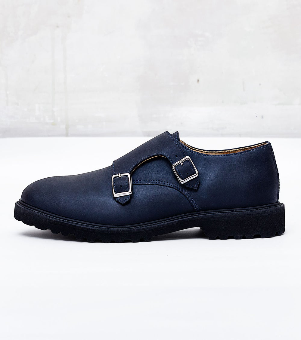 Image of Handmade Shoes | 401 Monk Double Strap Navy Edition