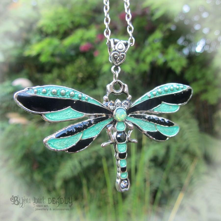 Image of Dragonfly Enamel Necklace