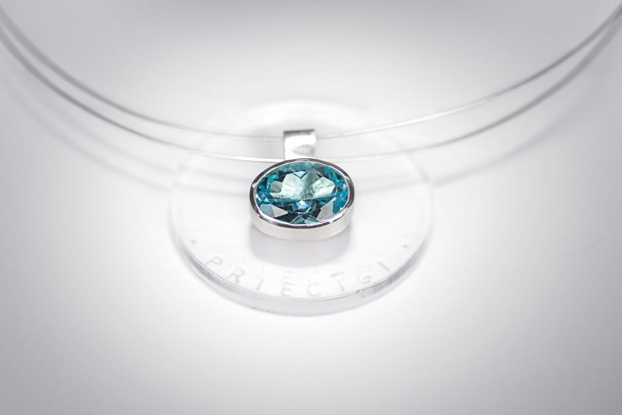 Image of silver pendant with blue topaz PER GAUDIUM