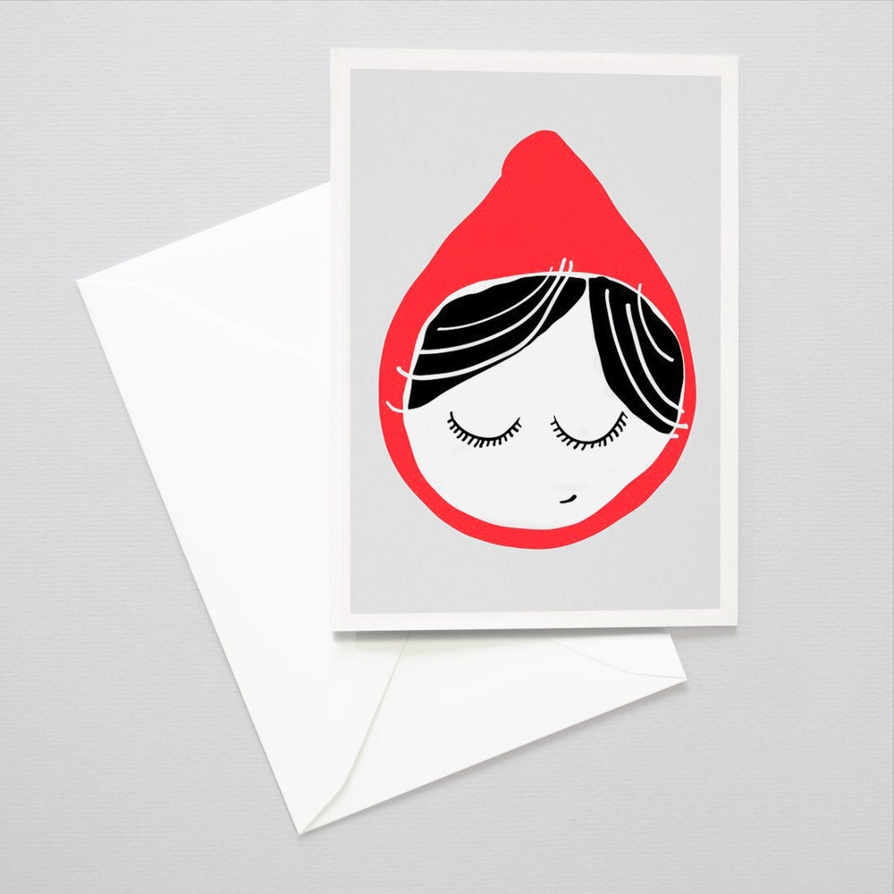 Image of Little Red Ridding Hood illustration card - Art card / Children's Art card