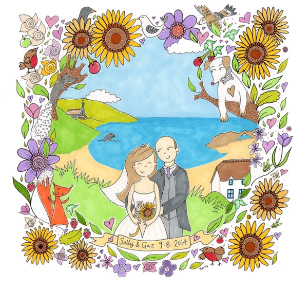 Image of Personalised WEDDING Illustration 20cm x 20cm