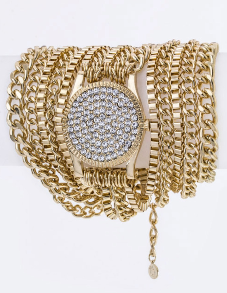Image of CRYSTAL WATCH CHAIN BRACELET