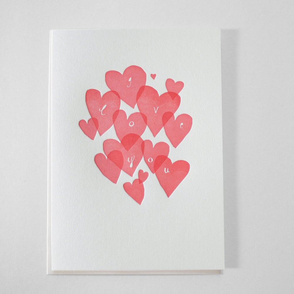 Image of I Love You - Letterpress Love Card / Thinking of you / I love you card