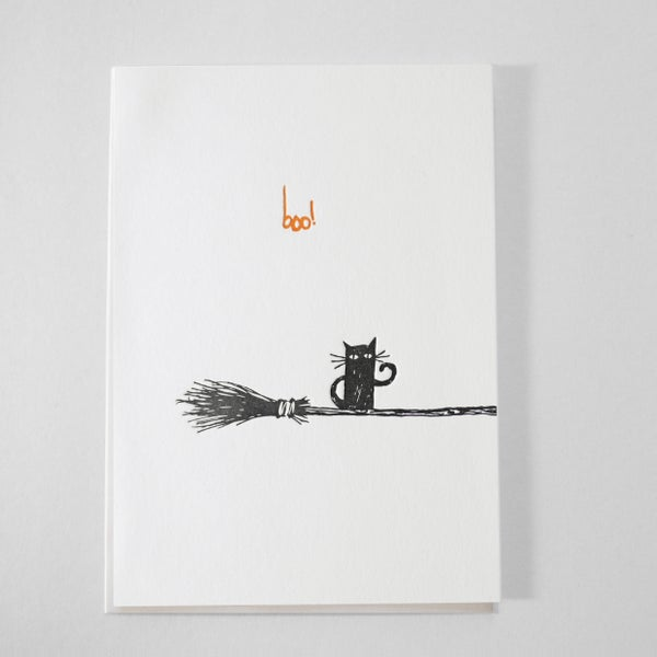 Image of black cat - letterpress card