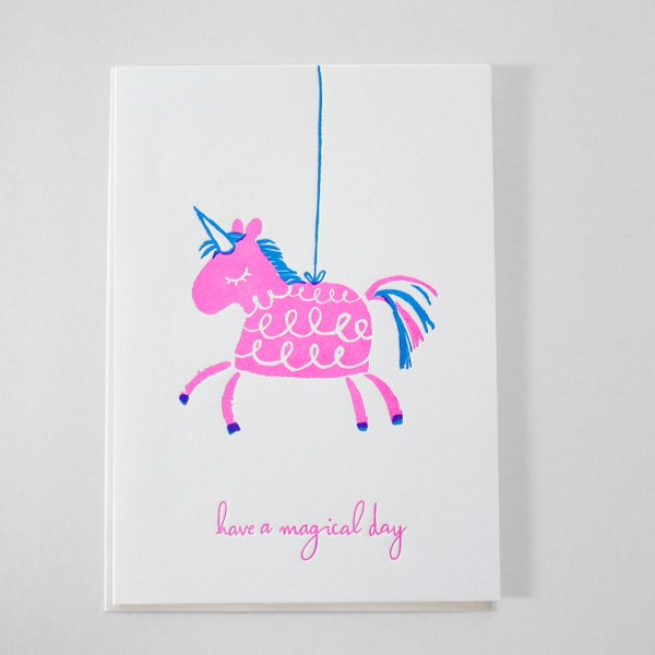 Image of Piñata Birthday Card - Letterpress birthday card / Princesses Birthday card - NEON