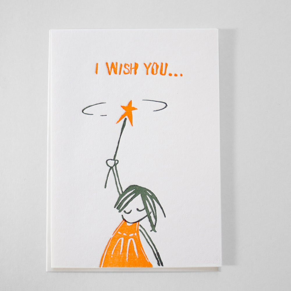 Image of Letterpress Birthday/ I wish you / Good luck card / Best wishes card in English or Deutsch - NEON