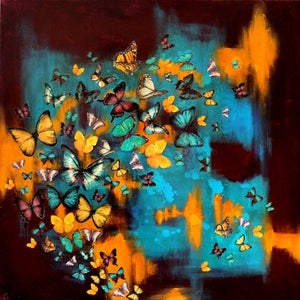 "Image of Lily Greenwood Giclée Print - Butterflies on Maroon/Turquoise/Yellow - 12""x 12"" (Open Edition)"