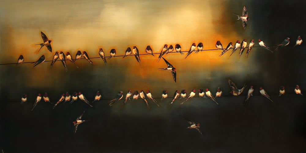 "Image of Lily Greenwood Giclée Print - Swallows - 8""x 16"" (Open Edition)"