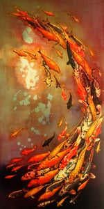 "Image of Lily Greenwood Giclée Print - Koi on Violet - 8""x 16"" (Open Edition)"