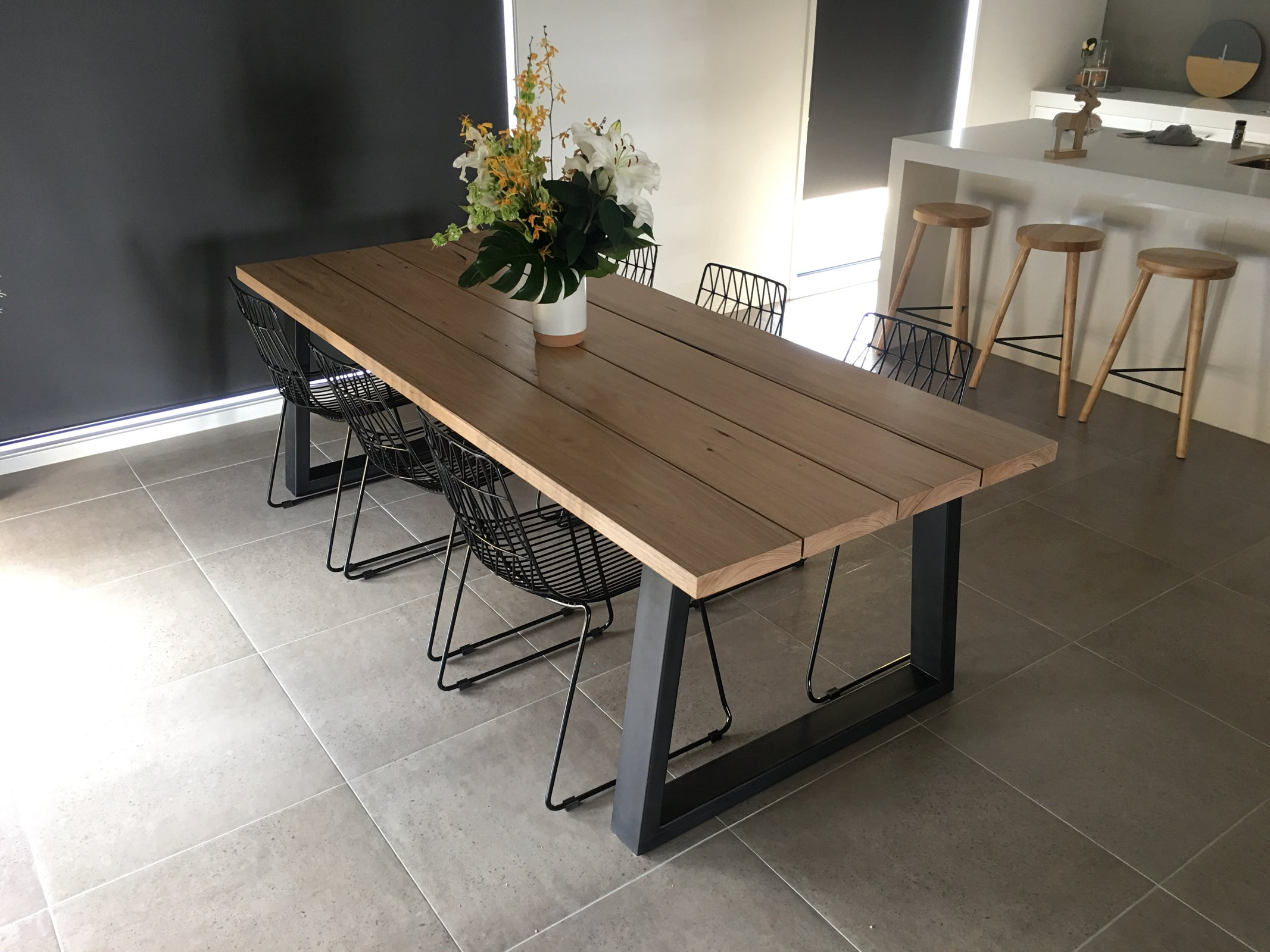 Image Of PLANK   Dining Table W Steel Legs