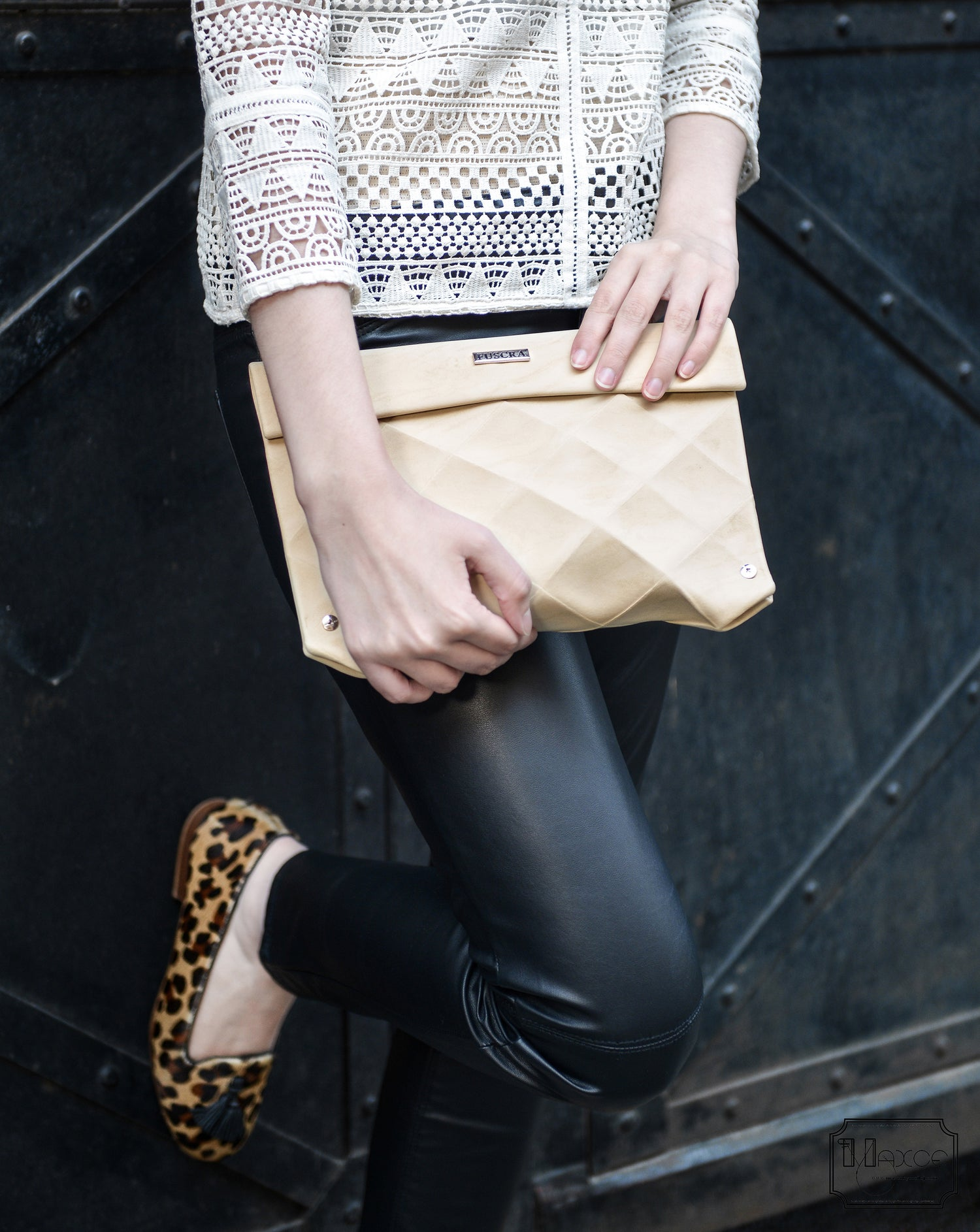 Image of CLUTCH IN ECO LEATHER BEIGE - SIZE M