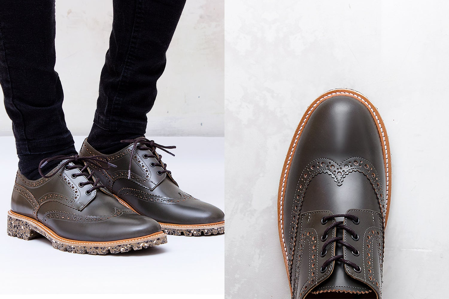Image of Handmade Shoes | 702 Derby Wingtip Dark Olive Edition
