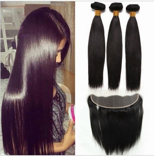Image of 13x4 lace frontal and 3 bundles