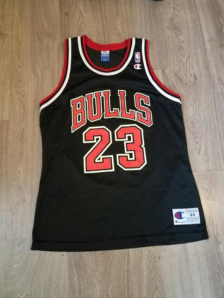 best website 5dbfc 84482 Black Champion Chicago Bulls Michael Jordan Jersey