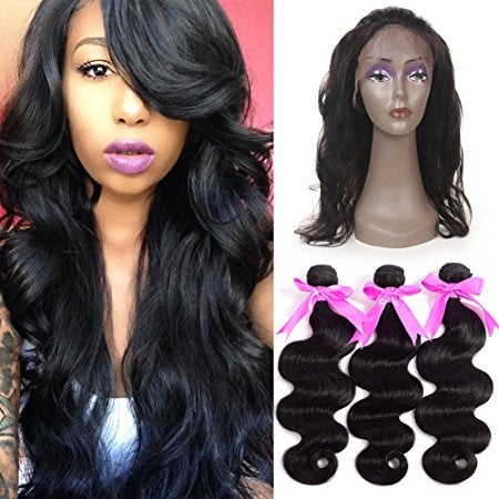 Image of 360 lace frontal with 3 bundles