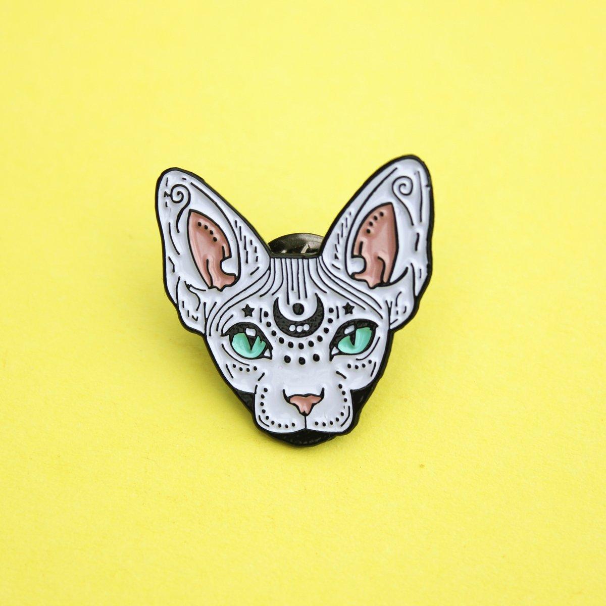 Image of Mystical Sphynx cat enamel pin, cat pin - badge - lapel pin