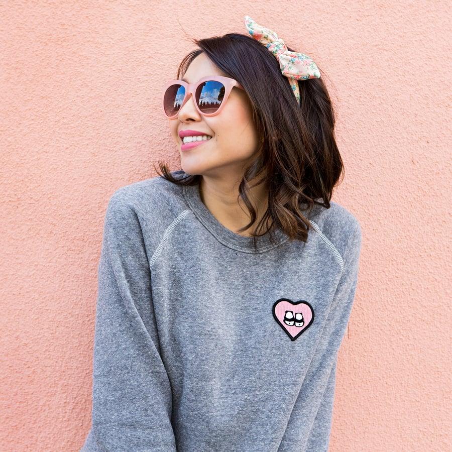 "Image of ""Panda Bums"" Patch Sweater (Heather Grey)"