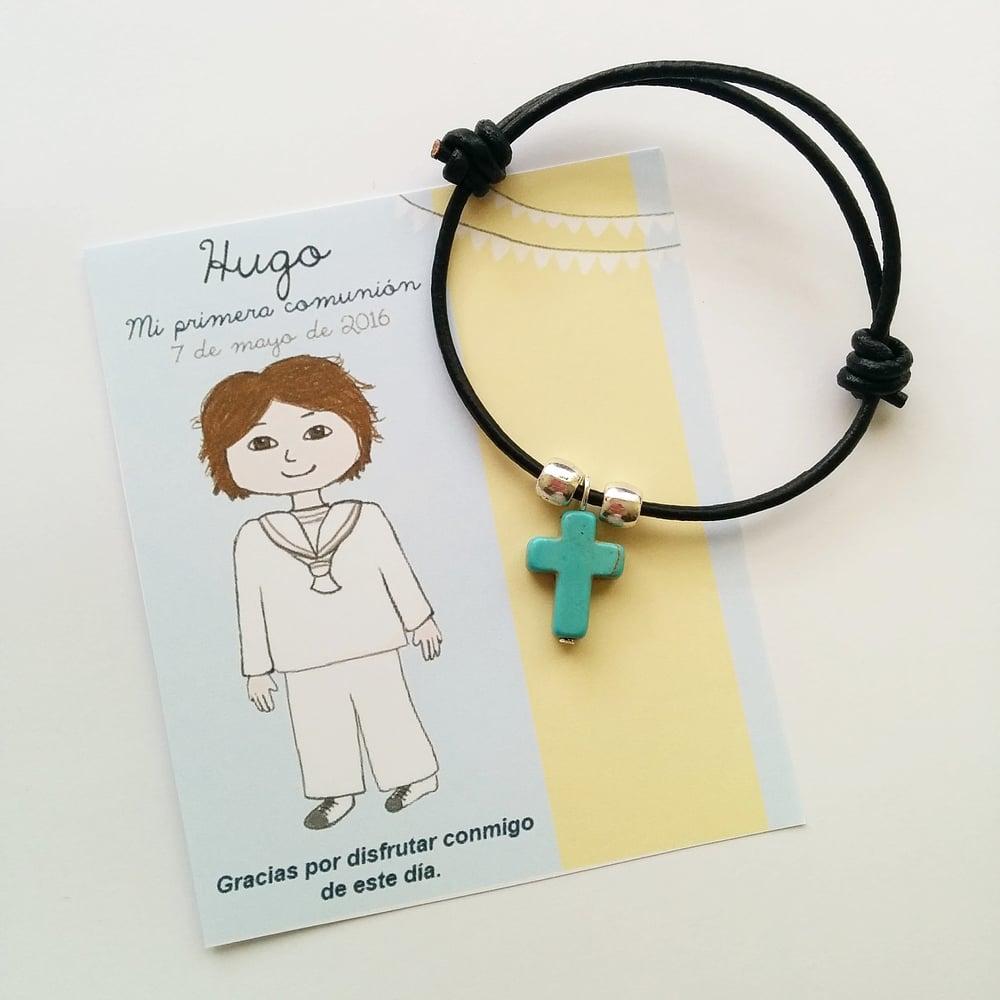 Image of Pulseras comunión cuero con tarjeta personalizada